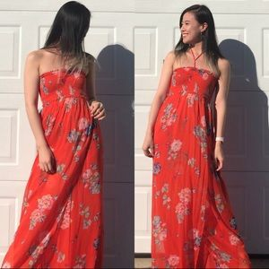 New red floral chiffon maxi dress w/ smocked top
